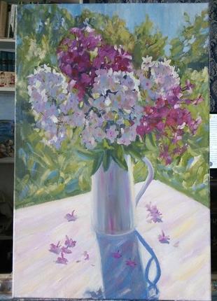 Картина маслом живопись цветы флоксы