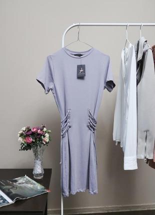 Лиловое платье футболка со шнуровкой лавандовое платье большой размер