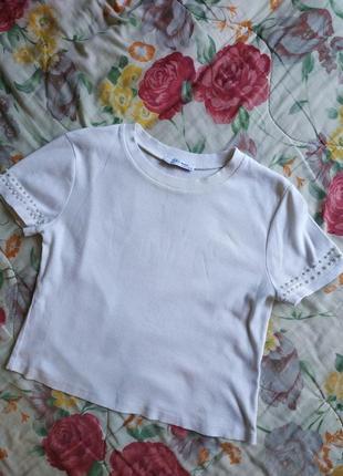 Футболка блузка жемчуг базовая укороченная zara