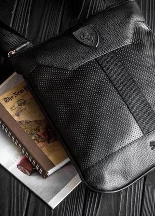 Сумка мессенджер через плечо ferrari slim мужская сумка тонкая черная эко экокожа