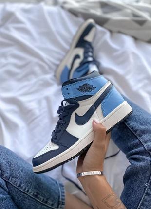 Nike jordan 1 retro high patent blue toe  женские кроссовки наложенный платёж купить