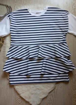 Белая в синюю полоску футболка блуза с рукавами обьемными рюшами туника оверсайз