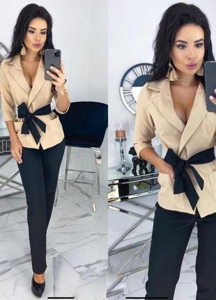 Стильный  элегантный костюм двойка брюки и пиджак жакет с поясом