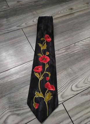 Стильный брендовый галстук италия шелк принт маки
