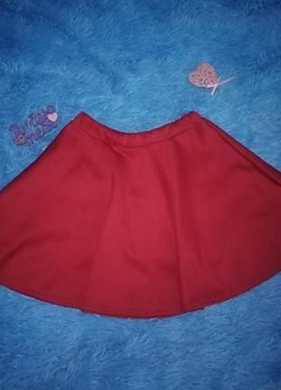 Красная юбка сонце осенняя юбка юбочка клеш