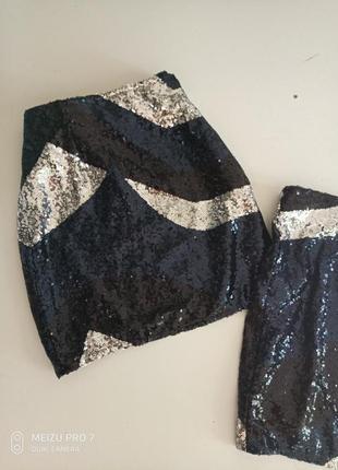 Нарядная яркая юбка в пайетки от немецкого бренда  esmara 40р