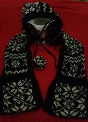 Шапка комбинированная с шарфом и муфточкой