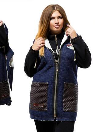 Зимний теплый костюм тройка из пальтовой ткани на эко-меху и трикотаж тринитка (тройка)