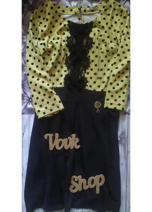 Платье в горох горошек с кружевом кружево с рукавом три четверти с бантами бантиками