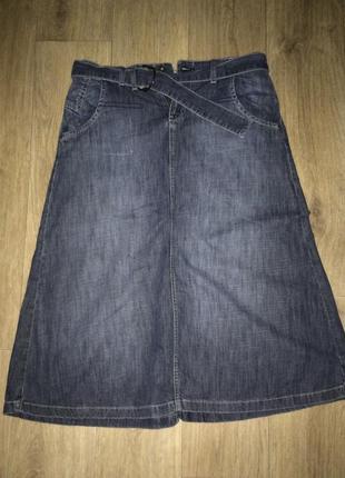 Фирменная джинсовая юбка трапецией