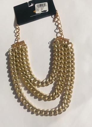 Нове актуальне масивне колье ожерелье цепь позолота ❤️ сша