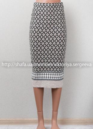 Sale - 1+1=3! шикарная принтованная юбка по фигуре миди длины
