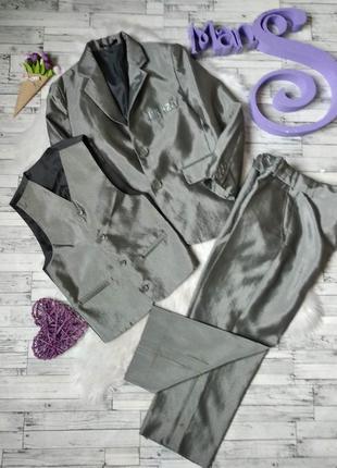 Костюм тройка espakids серый на мальчика пиджак жилет брюки
