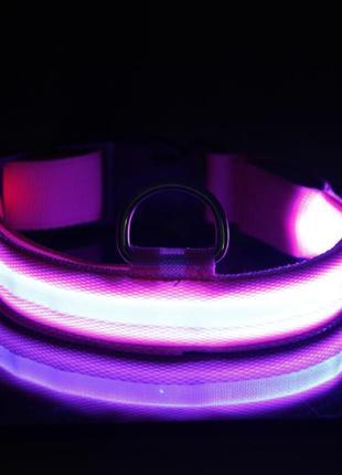 Ошейник для собак с подсветкой размер м, цвет розовый