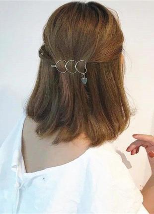 Оригинальная заколка сердечки с подвесками цвет под серебро / большая распродажа!