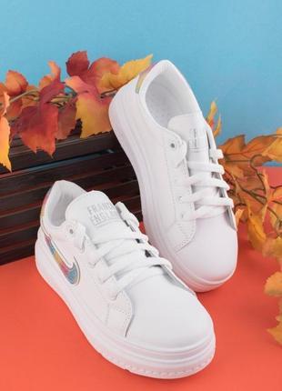 Стильные белые кроссовки кеды криперы модные кроссы на платформе толстой подошве