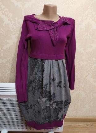 Платье теплое, осень, нарядное, s-m