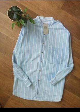 Сорочка в полоску, рубашки, джинсовая, котоновая, полосатая, оверсайз, с карманом
