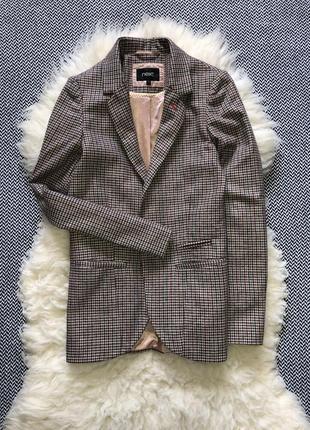 Шерстяной пиджак блейзер шерсть удлинённый клетчатый клетку гусиная