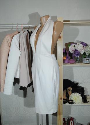 +1200 вещей в наличии! белое платье с открытой спинкой aqua by aqua uk6 (xs)