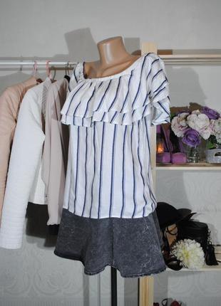 Скидка 25% на все вещи! топ с открытыми плечиками miss selfrige uk10 (s/m) блуза в полоску