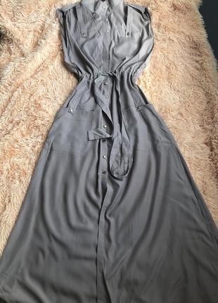 Платье-халат макси в стиле сафари