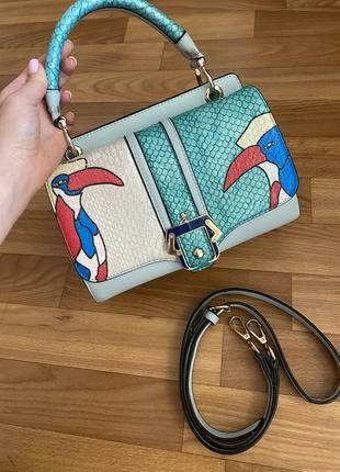 Безумно классная двустороння сумка принт попугаи