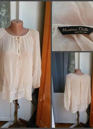 Шелковая блуза massimo dutti 100% шелк