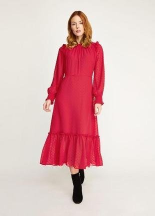 Винтажное красное платье с кожанным поясом