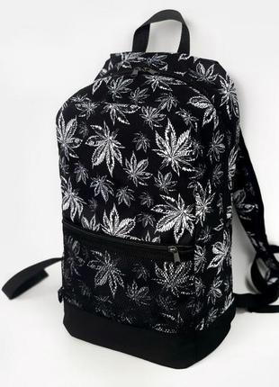 Рюкзак черный с принтом гербарий унисекс