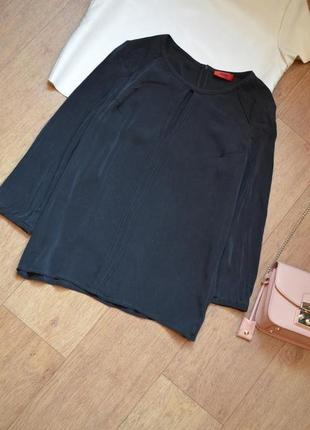Hugo boss натуральная шелковая черная однотонная базовая блуза блузка шелк