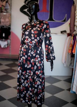 Нереальное шелковое платье миди с цветами от wear me