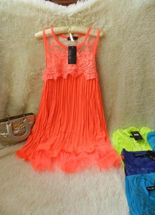 ✅ воздушное шифоновое платье плисе гипюр вышитый волан пышный сетка
