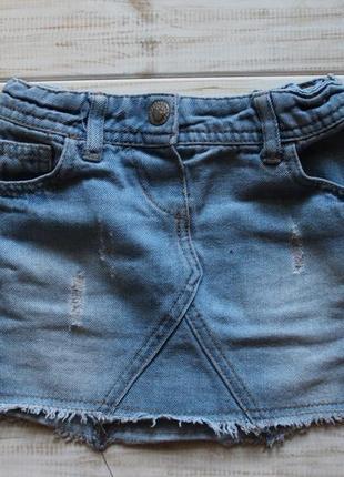 Джинсовая юбка на 2-3года на поясе утяжка
