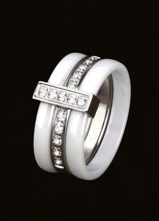 Керамічна каблучка з срібною вставкою та фіанітами. керамическое кольцо