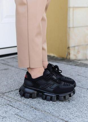 Женские кроссовки prada cloudbust black