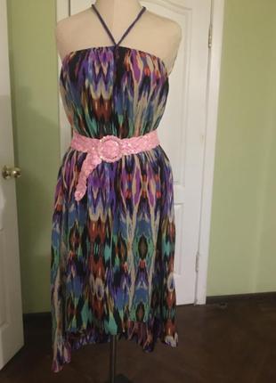 Легкое шелковое  пляжное платье