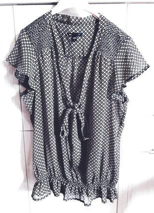 Винтажный шифоновый блузон кроп топ/блуза на резинке в стиле ретро gap.