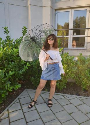 Велика прозора парасоля парасолька / прозрачный зонт зонтик трость
