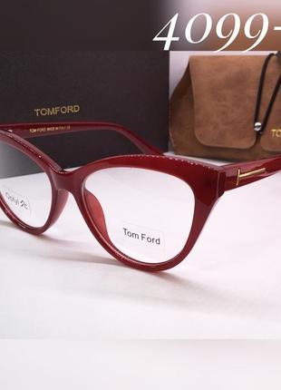 Женские очки имиджевые бордовые tom ford, оправа