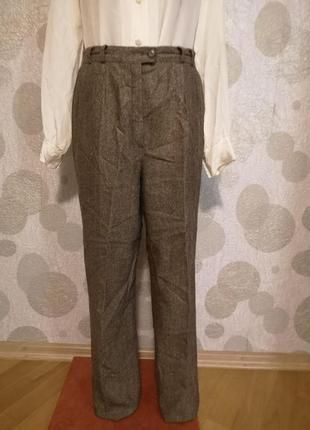 Шерстяные зауженные брюки шерсть + шелк  marcona