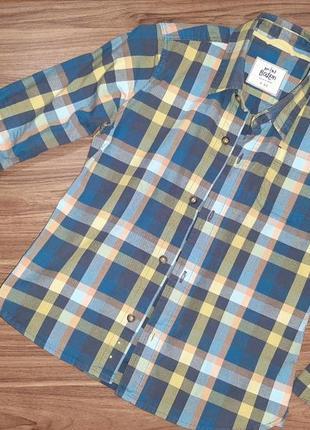 Рубашка mini boden  в клетку на мальчика 4-5 лет 110-116-122 р.