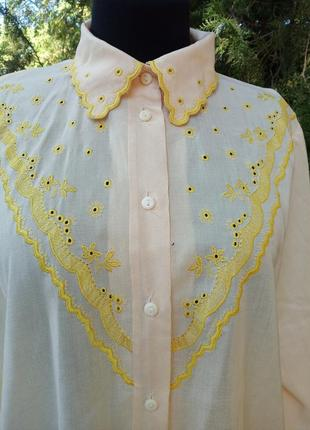 Рубашка хлопок в винтажном стиле со вставками прошва орнаментами ретро жёлтая