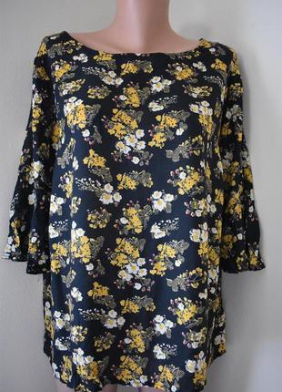Натуральная легкая блуза с принтом большого размера