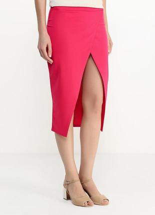 Юбка розовая с разрезом спереди edge clothing