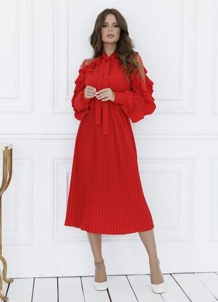 Платье красное  и изумруд