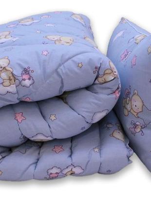 Ковдра гіпоалергенна та подушки сині ведмедики
