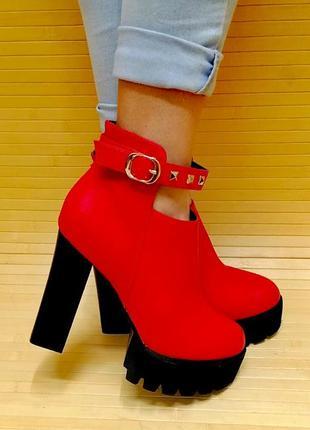 Ботинки 41 размер красные демисезон
