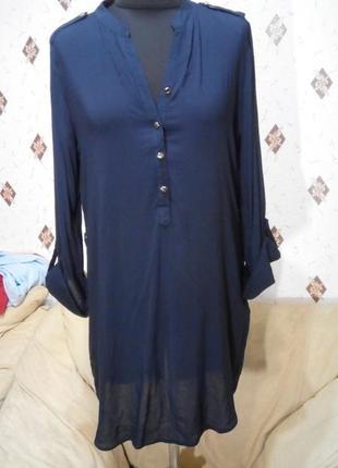 Удлинённая рубашка блуза из вискозы