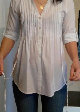 Хлопковая белая рубашка р.10